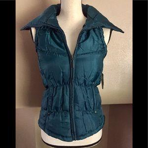 Deep Teal puffer vest. Full zip up